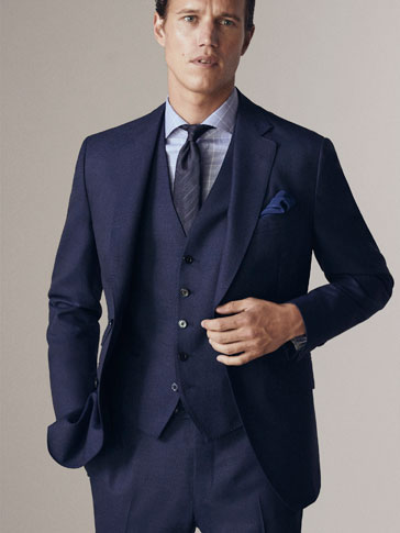 PERSONAL TAILORING CITY SLIM FIT MOULINÉ WOOL AND HALF-CANVAS BLAZER