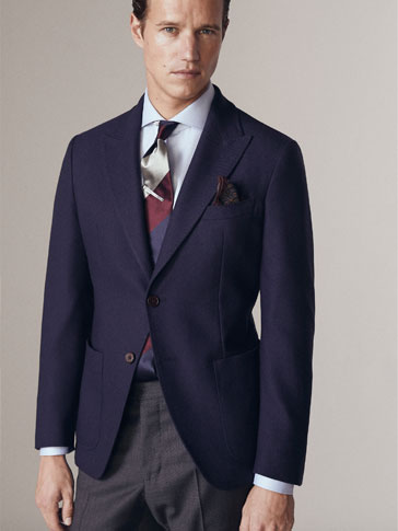 PERSONAL TAILORING SLIM FIT PLAIN WOOL/CASHMERE BLAZER