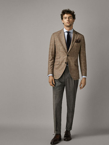 SLIM FIT WINDOW PANE CHECK WOOL BLAZER