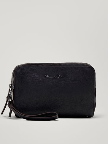 EMBOSSED MONTANA LEATHER TOILETRY BAG