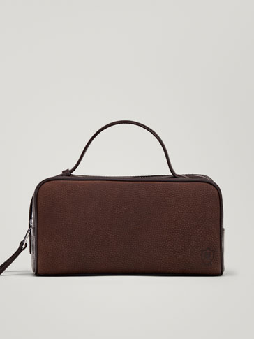 CONTRASTING NAPPA LEATHER/NUBUCK TOILETRY BAG
