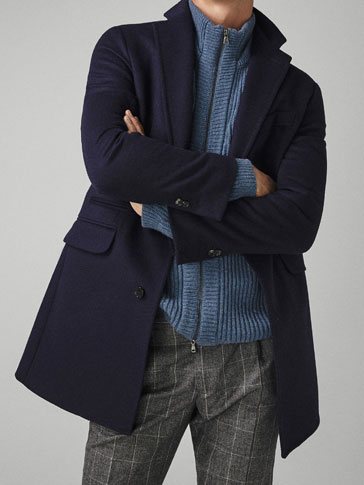 PLAIN WOOL/CASHMERE COAT
