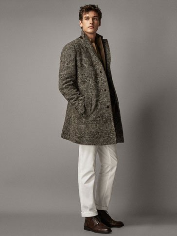 Slim Fit Checked Wool Coat by Massimo Dutti