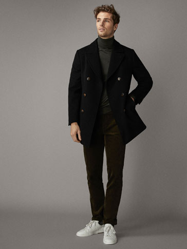 Slim Fit Double Breasted Black Wool Coat by Massimo Dutti