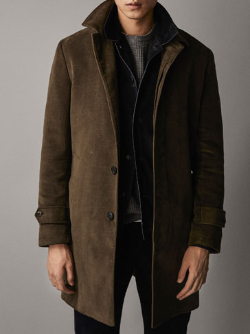 MOLESKIN COAT WITH DETACHABLE DETAIL
