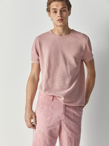 PLAIN LINEN/COTTON BERMUDA SHORTS