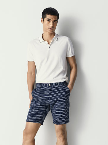 POLKA DOT JACQUARD COTTON BERMUDA SHORTS