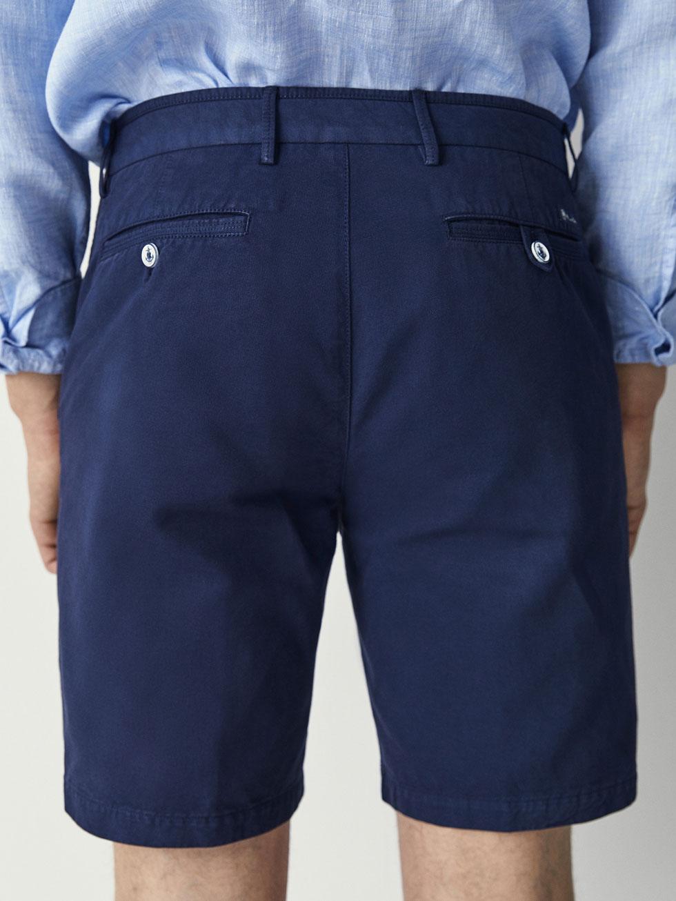 Side Seam Men Shorts Cottonlinen With Dutti Bermuda Massimo Detail eED9WbIYH2