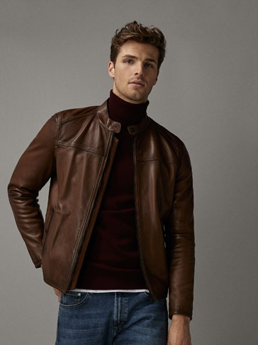NAPPA LEATHER JACKET WITH CONTRASTING DETAILS