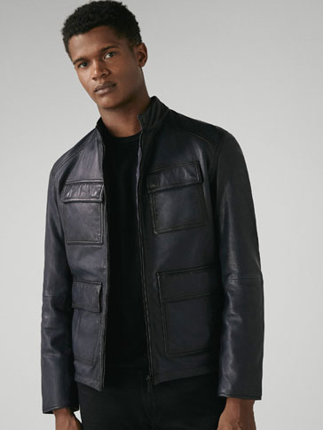 REVERSIBLE NAPPA LEATHER JACKET WITH POCKETS