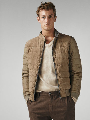 Reversible Suede/Down Puffer Jacket by Massimo Dutti
