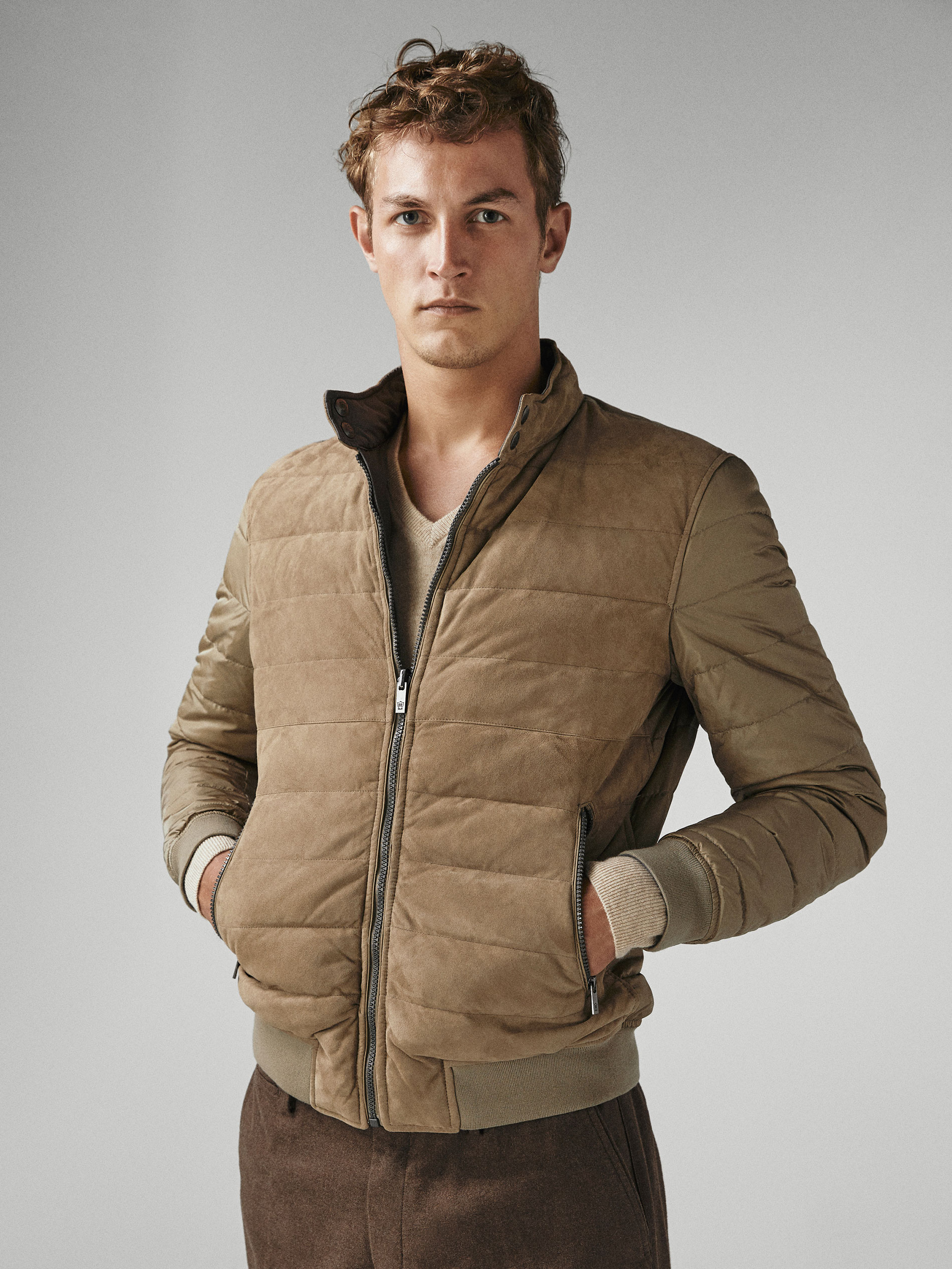 e9644969e23 Massimo Dutti REVERSIBLE SUEDE DOWN PUFFER JACKET at £199.2