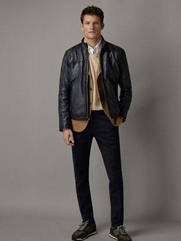 NAPPA LEATHER JACKET WITH PIPED SEAMS