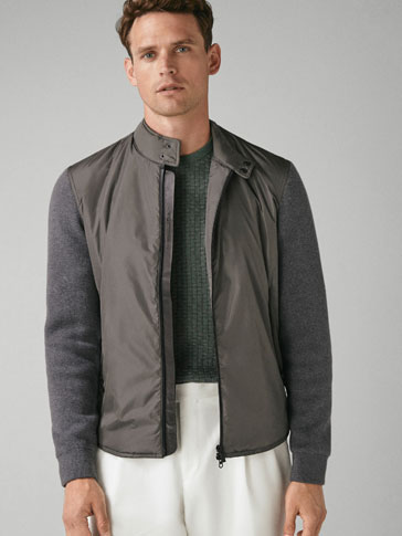 CONTRASTING KNIT JACKET WITH THERMO-SEALED DETAILS