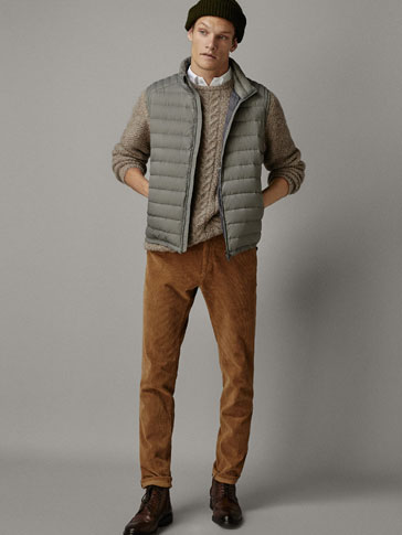 CONTRASTING KNIT DOWN GILET
