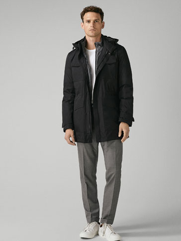 TECHNICAL THREE-QUARTER-LENGTH DOWN COAT