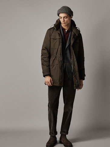 THREE-QUARTER LENGTH TECHNICAL DOWN COAT WITH REMOVABLE LINING