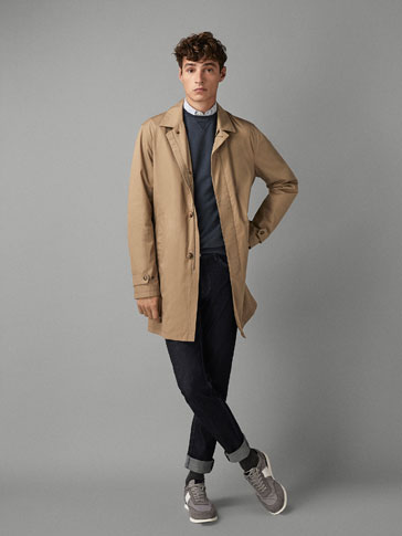 PLAIN COTTON TRENCH COAT