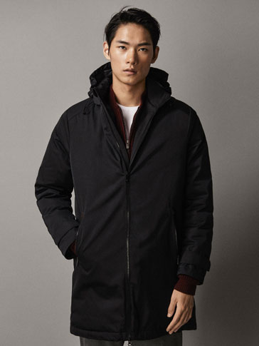 BLACK TECHNICAL DOWN TRENCH COAT