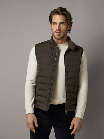 DOWN GILET WITH CONTRAST PIPING