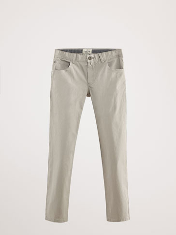 SLIM FIT COTTON DENIM-EFFECT TROUSERS