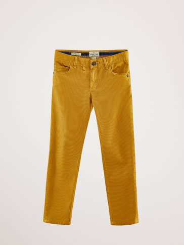 REGULAR FIT TEXTURED DENIM-LIKE TROUSERS