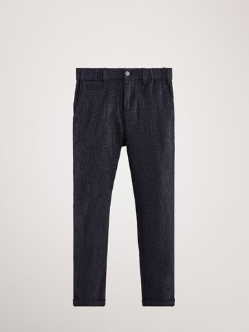 REGULAR FIT TEXTURED COTTON TROUSERS