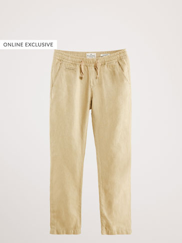 REGULAR FIT LINEN/COTTON HERRINGBONE TROUSERS