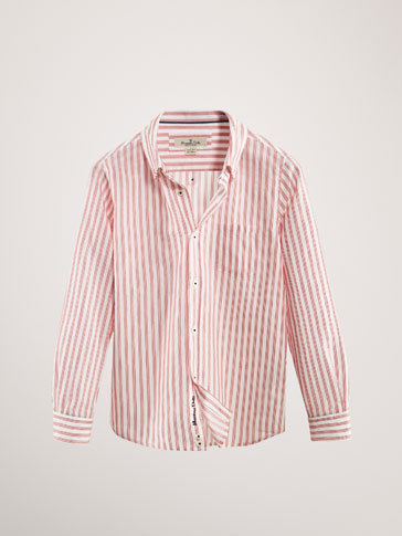 STRIPED TEXTURED WEAVE COTTON SHIRT