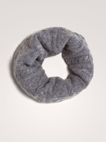 100% CASHMERE CABLE-KNIT SNOOD