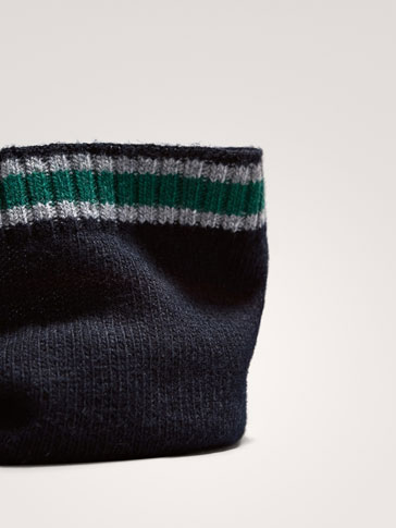 WOOL SNOOD WITH CONTRAST STRIPE