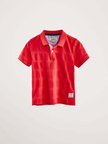 STRIPED COTTON TEXTURED WEAVE POLO SHIRT