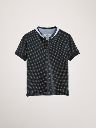 COTTON POLO SHIRT WITH CONTRASTING POLKA DOTS