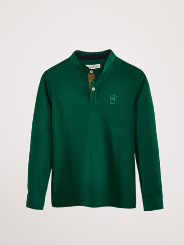 COTTON POLO SHIRT WITH CONTRASTING COLLAR DETAIL