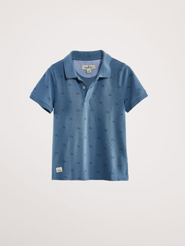 BICYCLE PRINT COTTON POLO SHIRT