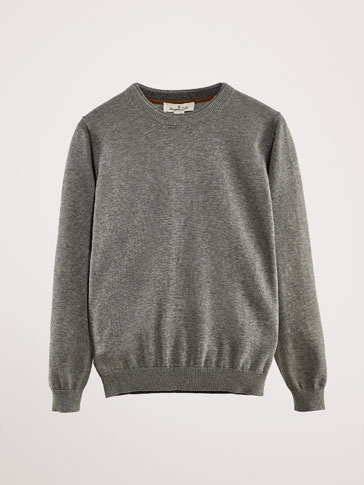 COTTON SWEATER WITH ELBOW PATCHES