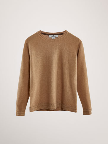 WOOL/CASHMERE SWEATER WITH TEXTURED TRIMS