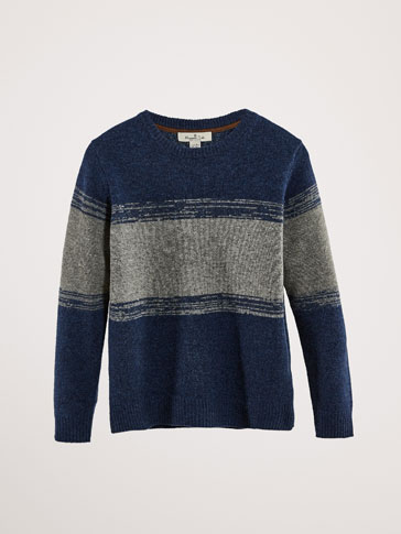 TWO-TONE WOOL/CASHMERE SWEATER