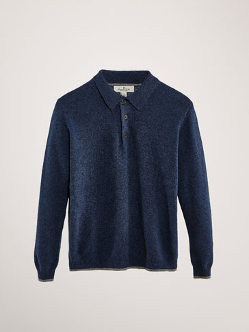 CONTRAST WOOL POLO SWEATER