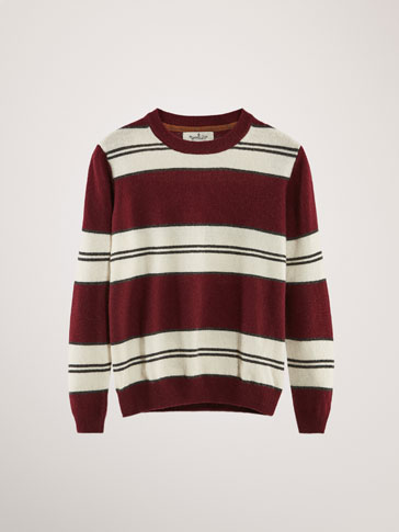 STRIPED COTTON/CASHMERE SWEATER