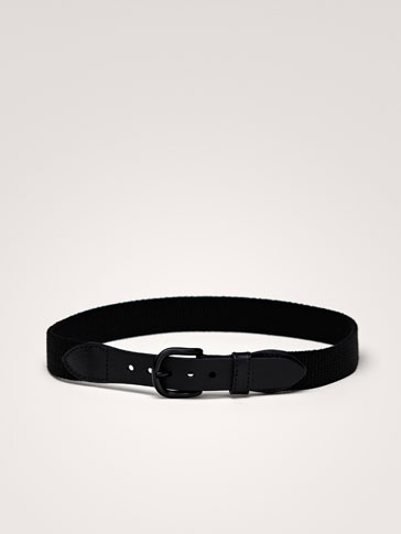 STRETCH LEATHER BELT WITH STRIPE