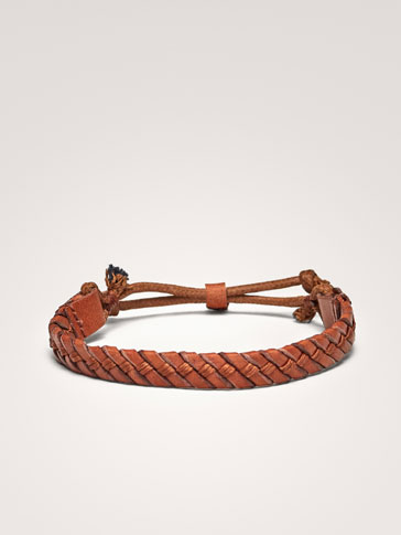 BRAIDED LEATHER/COTTON BRACELET