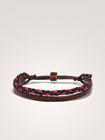 DOUBLE-STRAND LEATHER/COTTON BRACELET WITH BRAIDED DETAIL