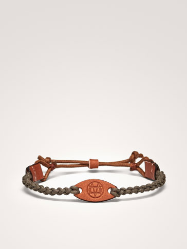 COTTON/LEATHER BRACELET WITH EMBLEM
