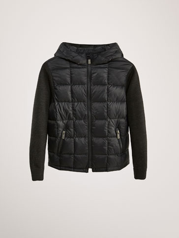CONTRAST DOWN JACKET WITH HOOD