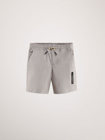 COTTON BERMUDA SHORTS WITH THERMO-SEALED DETAIL