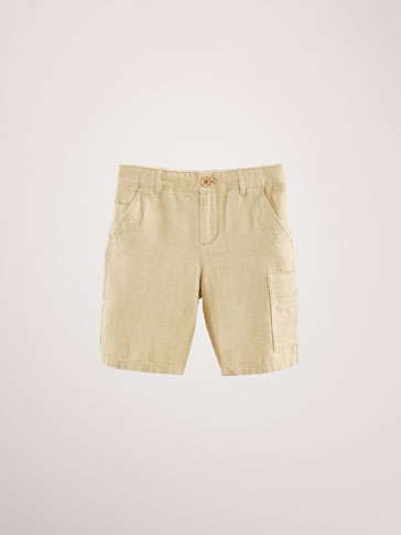 LINEN/COTTON HERRINGBONE BERMUDA SHORTS