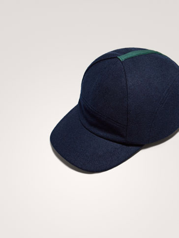 NAVY BLUE WOOL CAP WITH SEAMS AND STRIPE