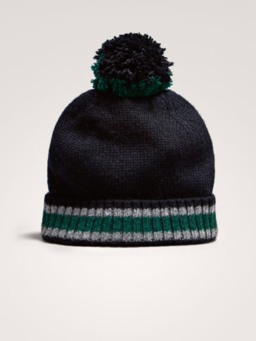 WOOL HAT WITH CONTRAST STRIPE