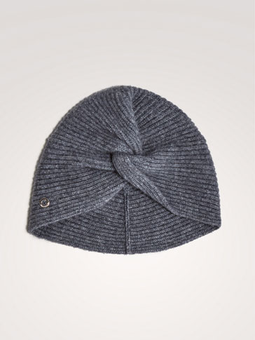 LIMITED EDITION 100% CASHMERE RIBBED TURBAN-STYLE HAT
